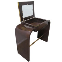 Art Deco Vanity with Mirror in Walnut with Gold Leaf Details