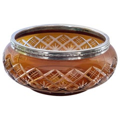 Art Deco Vase, Bowl in Carved Crystal Color Amber and Silver 800, Italy, 1930s