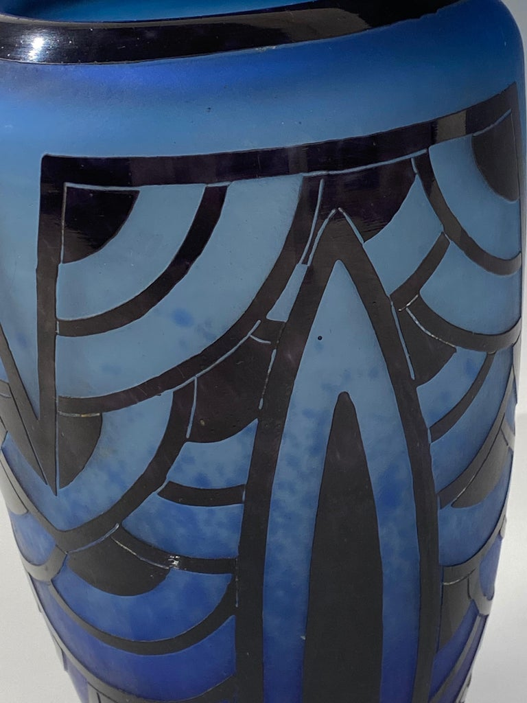 French Art Deco Vase by Charles Schneider, Le Verre Francais For Sale