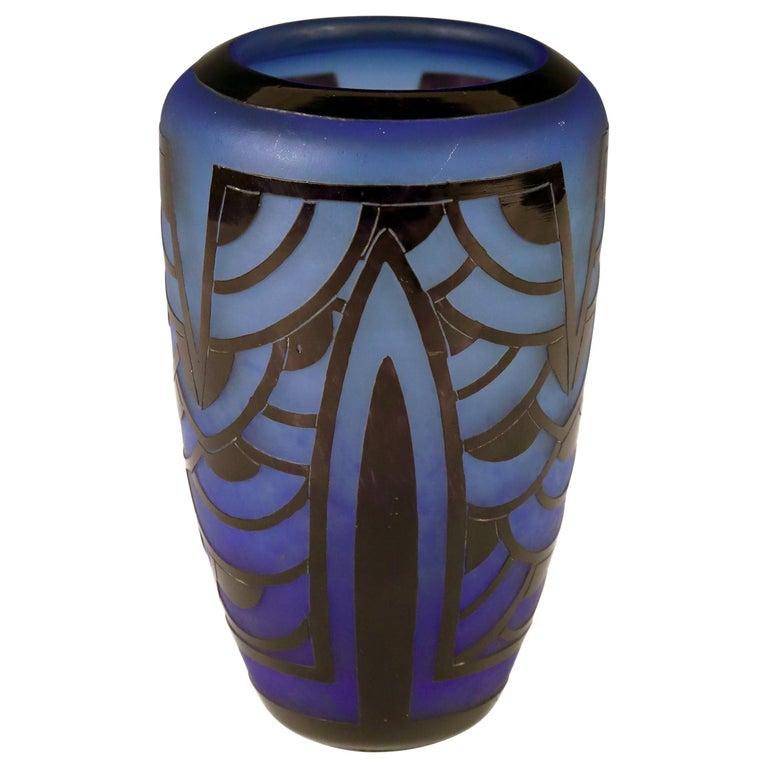 Art Deco Vase by Charles Schneider, Le Verre Francais For Sale