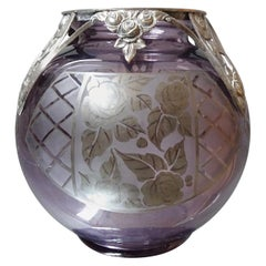 Art Deco Vase by D'Argyl, Amethyst Glass and Silver, France, 1930s