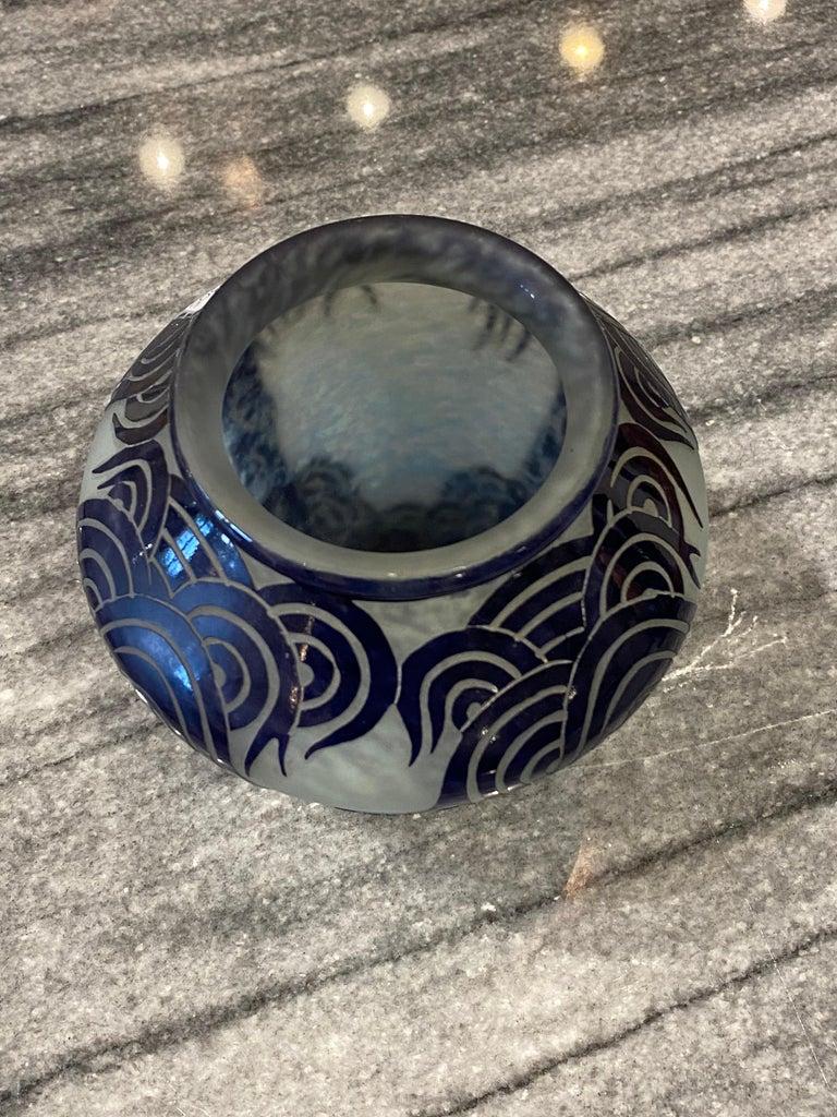 French Art Deco Vase by Le Verre Francais Palmier Bleus For Sale
