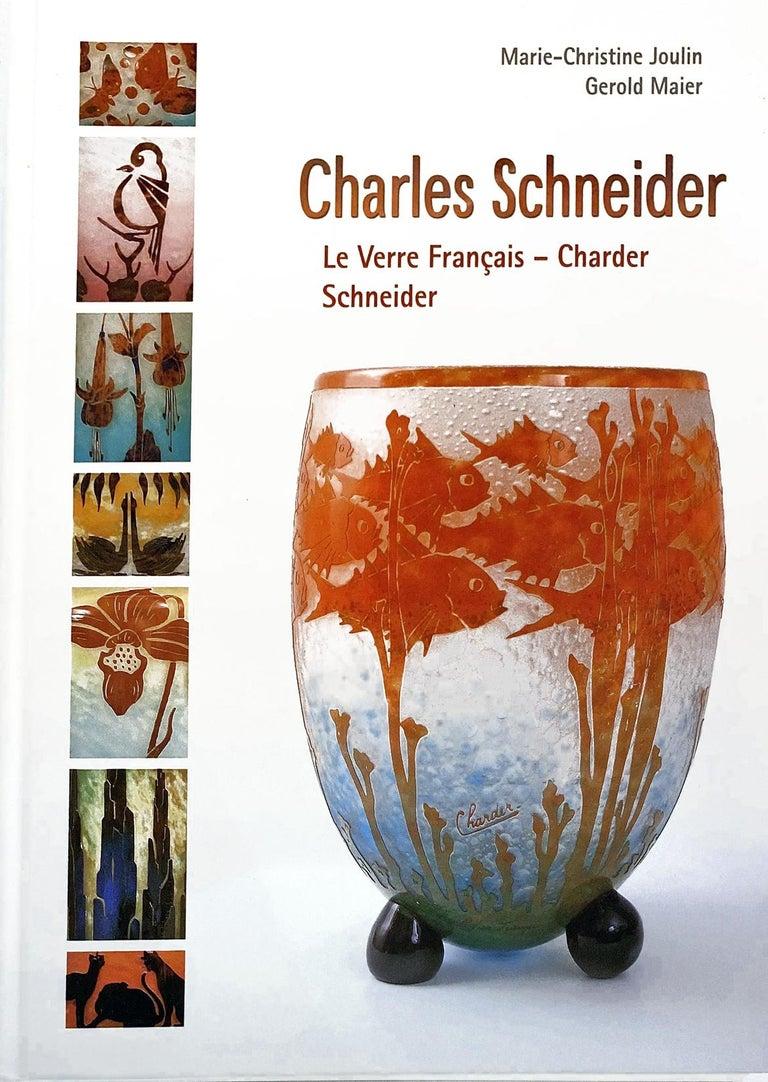 Art Glass Art Deco Vase by Le Verre Francais Palmier Bleus For Sale