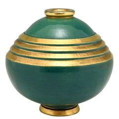Art Deco Vase Ceramic Green and Gold Marcel Guillard