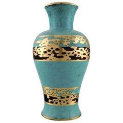"Art Deco Vase, Green Patinated Bronze with Gold Decoration ""Ikora"" WMF"