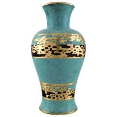 """Art Deco Vase, grün patinierte Bronze mit Golddekoration """"Ikora"""" WMF"""
