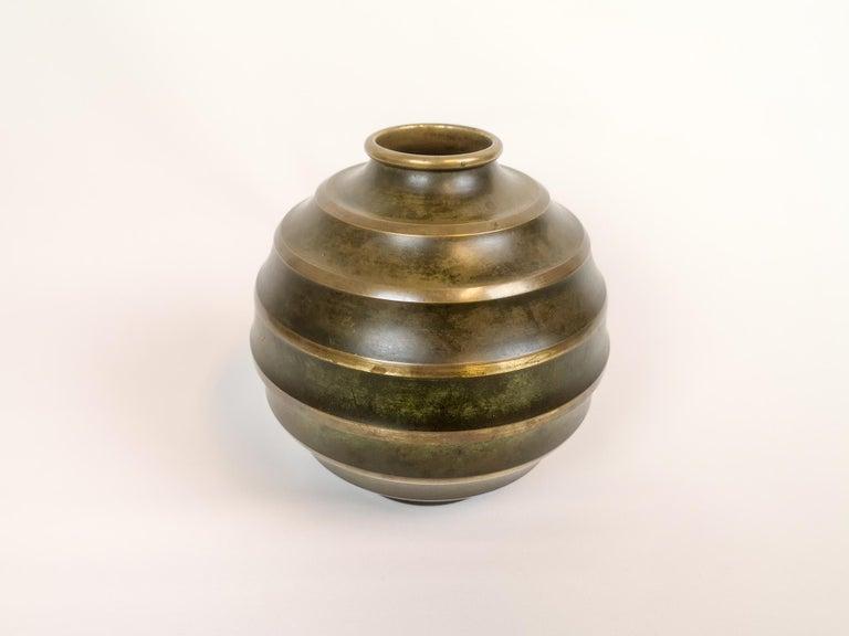 Swedish Art Deco Vase in Bronze and Brass by SVM Handarbete, Sweden For Sale