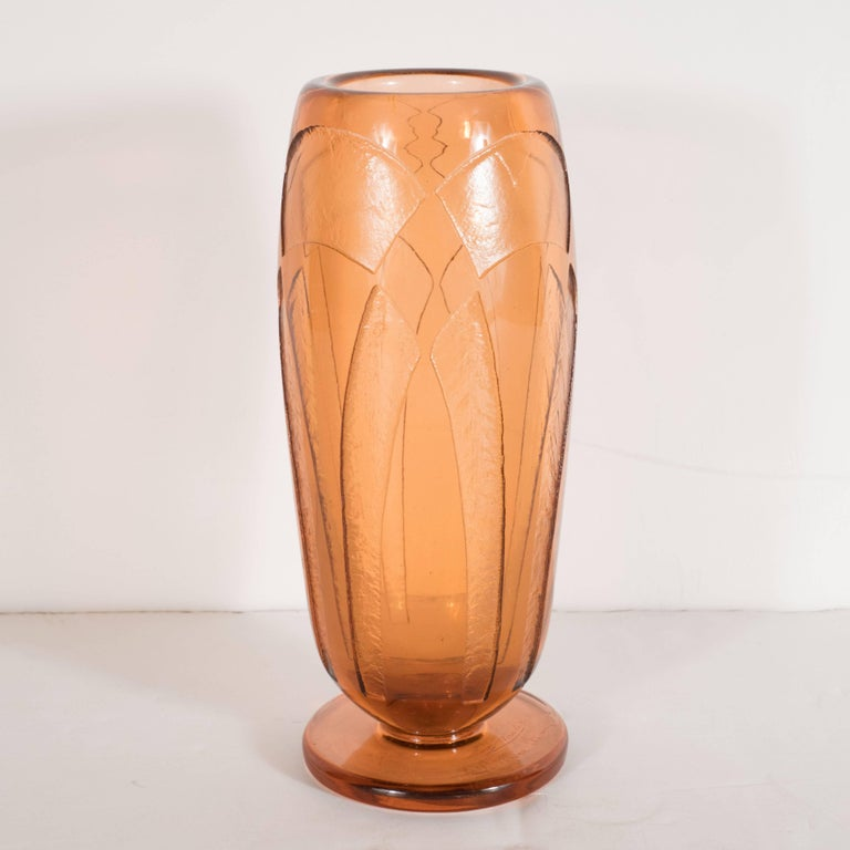 Hand-Crafted Art Deco Vase in Translucent Cognac with Cubist Geometric Patterns For Sale