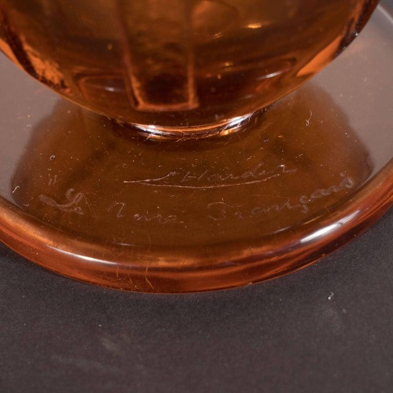 Art Deco Vase in Translucent Cognac with Cubist Geometric Patterns For Sale 1