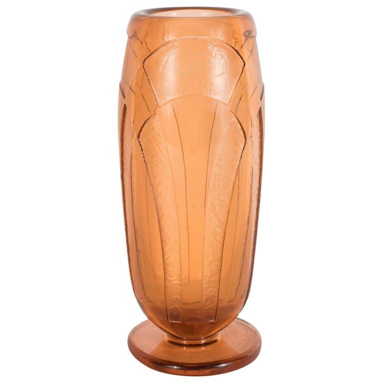 Art Deco Vase in Translucent Cognac with Cubist Geometric Patterns For Sale