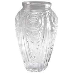 Art Deco Vase with Frosted Flower Motif, Julius Stolle 'Niemen Stolle, Poland'