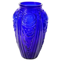 Art Deco Vase with Frosted Flower Motif, Julius Stolle 'Niemen Stolle, Poland'