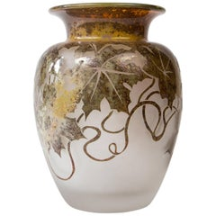 Art-Deco Vase with Leaves, circa 1920, Signed
