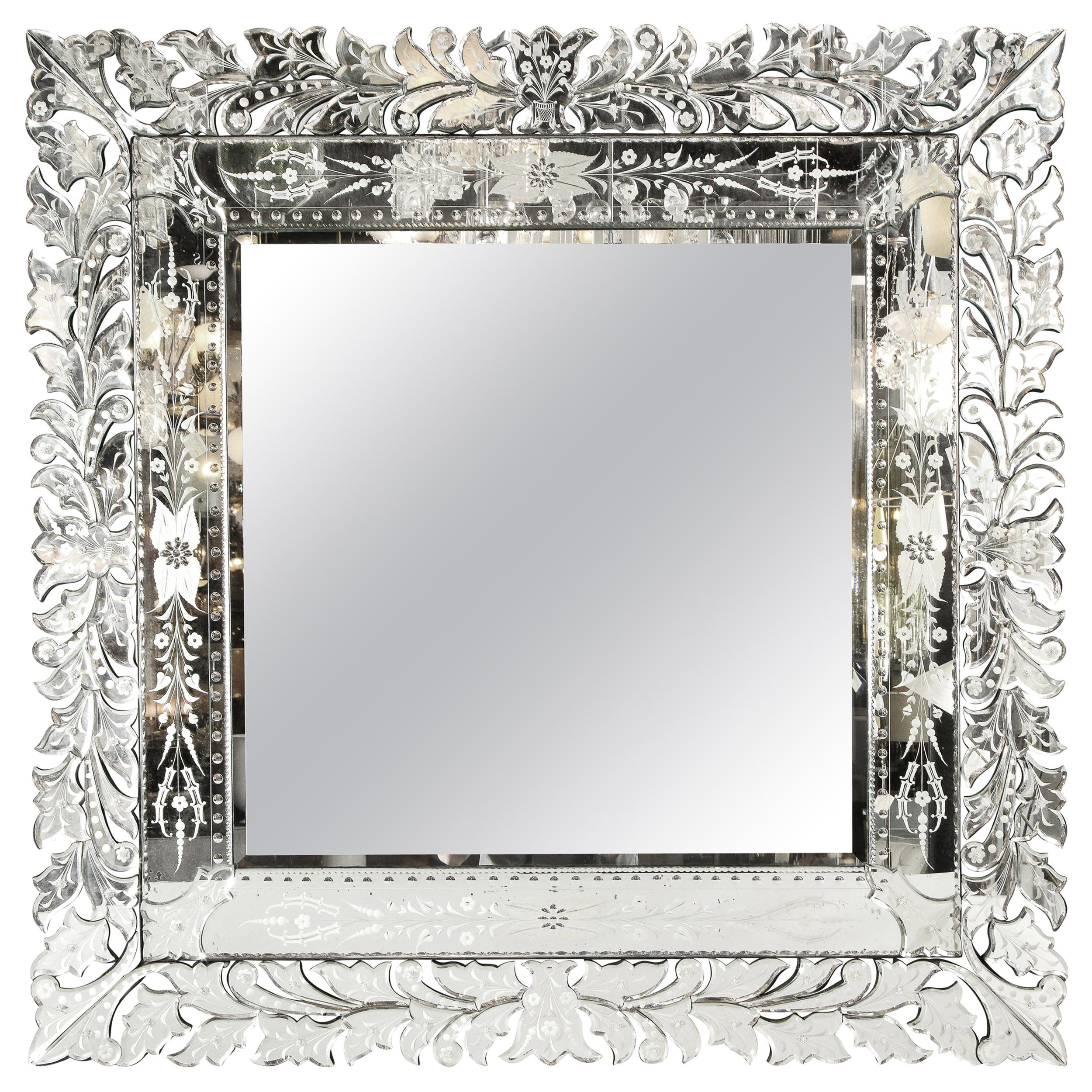 Art Deco Venetian Etched & Beveled Mirror w/ Stylized Floral Motifs