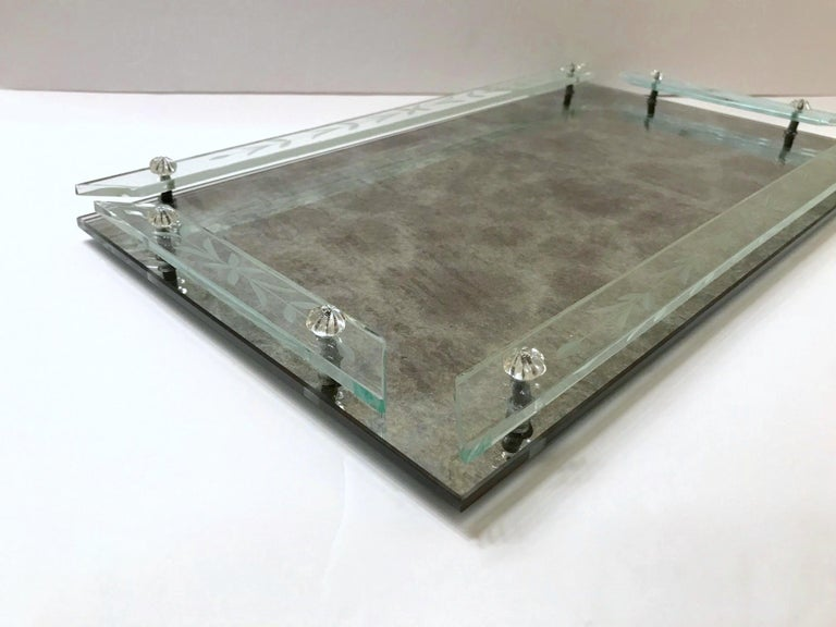 Hollywood Regency Art Deco Venetian Mirror Tray in Smoked Grey Glass, 1940s For Sale