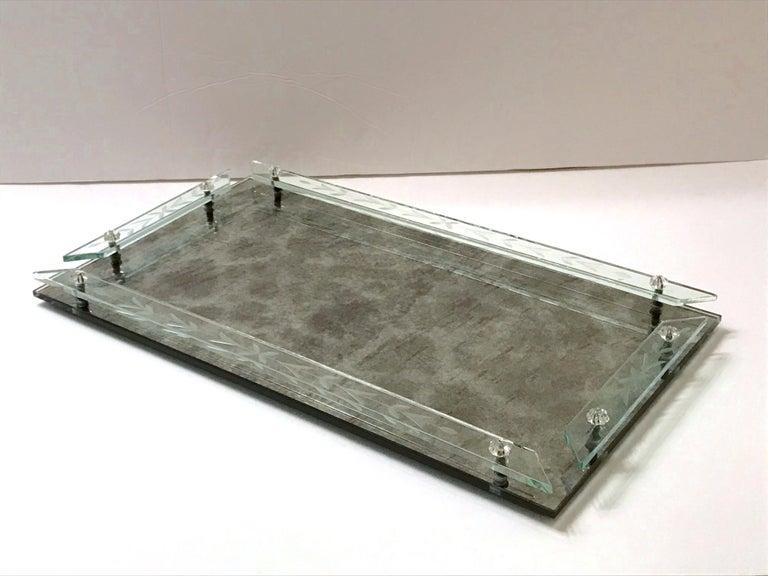 Italian Art Deco Venetian Mirror Tray in Smoked Grey Glass, 1940s For Sale