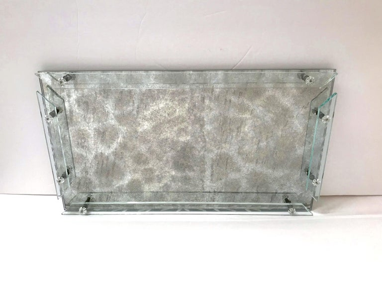 Etched Art Deco Venetian Mirror Tray in Smoked Grey Glass, 1940s For Sale