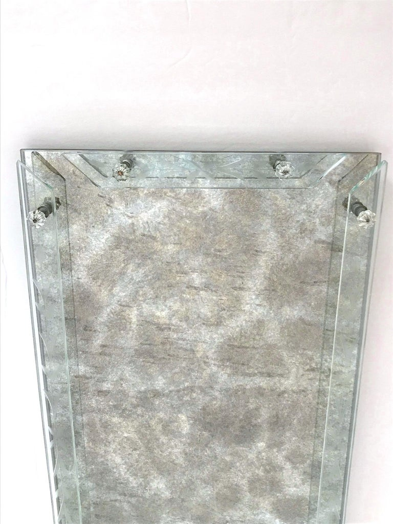 Mid-20th Century Art Deco Venetian Mirror Tray in Smoked Grey Glass, 1940s For Sale