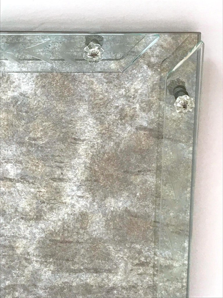 Art Deco Venetian Mirror Tray in Smoked Grey Glass, 1940s For Sale 1