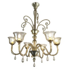 Large Venetian Murano Grey Glass Chandelier 20th Century Art Deco Venini Style