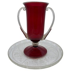 Art Deco Venetian Red Glass Vase with Charger Plate