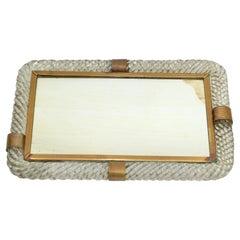 Art Deco Venini Blown Murano Glass & Brass Venetian Mirrored Tray, Table Mirror