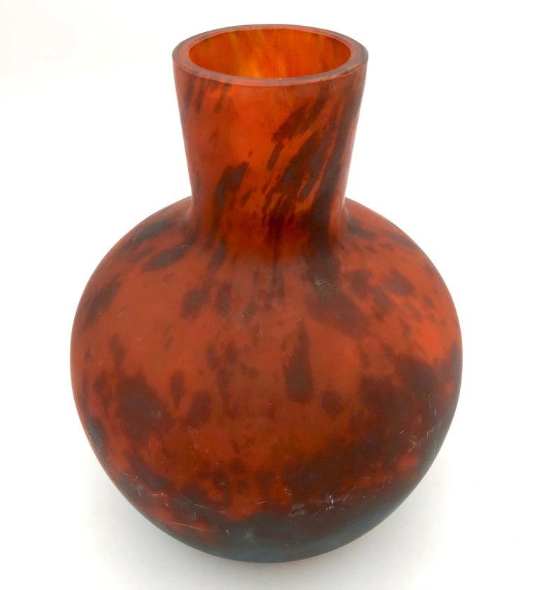 Art Nouveau Art Deco Verreries D'Art Lorrain for Daum Glass Vase Fully Signed France For Sale