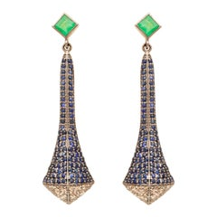 Art Deco Style Victorian Sapphire and Emerald Drop Earrings