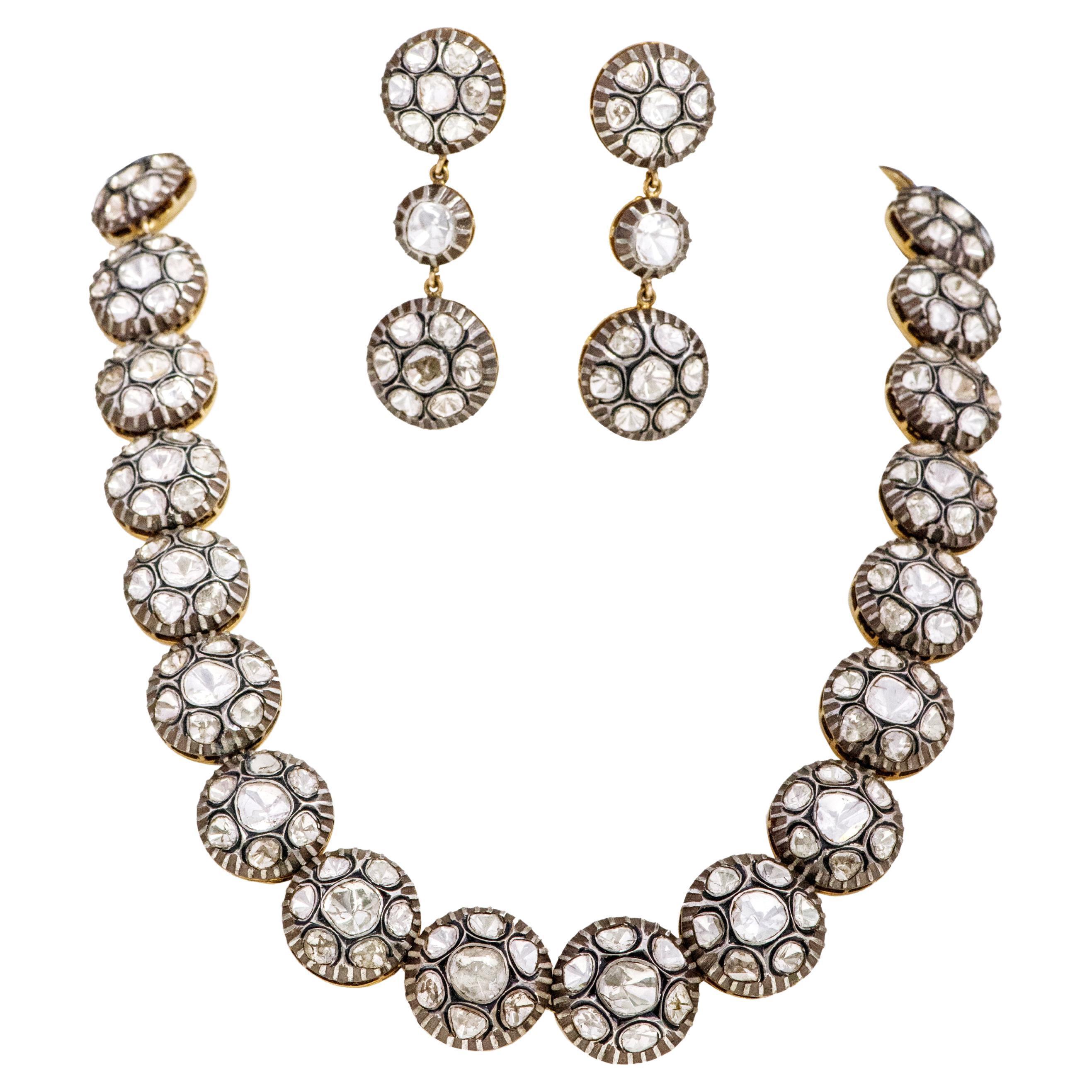 Art-Deco Victorian Style Polki Diamond Necklace and Earrings Set