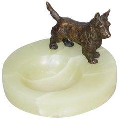 Art Deco Vide Poche with a Bronze Scottie Dog