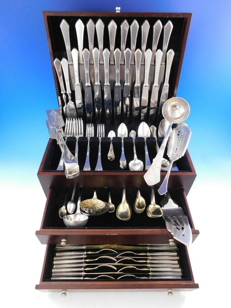 Art Deco Vienna Austria 800 Silver Flatware Set Service 165 Pieces Dinner In Excellent Condition For Sale In Big Bend, WI