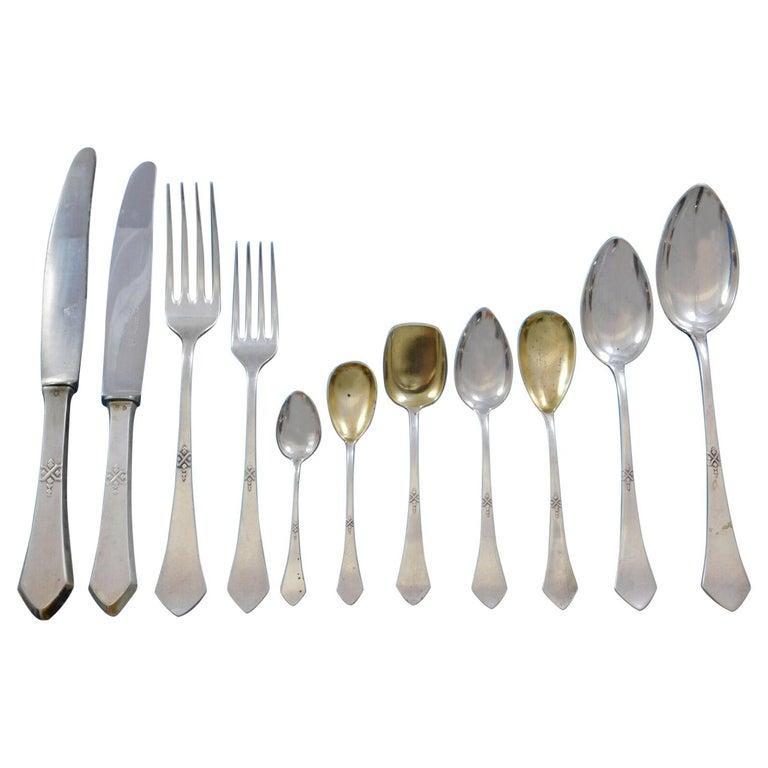 Art Deco Vienna Austria 800 Silver Flatware Set Service 165 Pieces Dinner For Sale