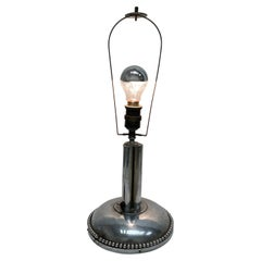 Art Deco Vienna Nickle Plated Table Lamp Foot, Vintage, 1920s