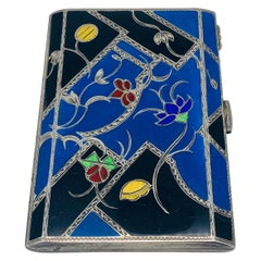 Art Deco Vienna Silver Enamel Calling Card Holder
