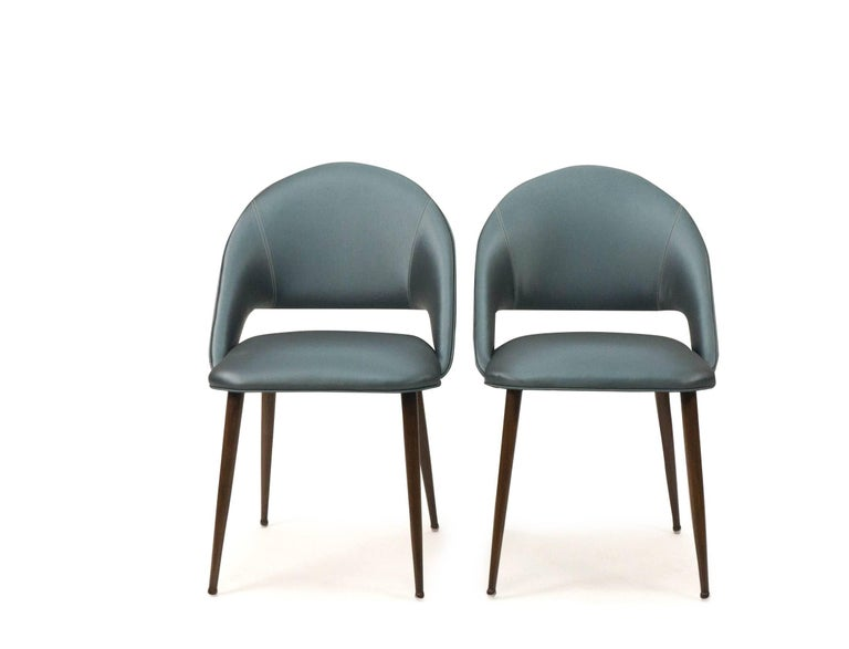 Contemporary Art Deco Vinyl Dining Chairs For Sale