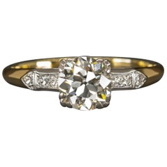 Art Deco Vintage 1 Carat Old Cut Diamond Solitaire Ring