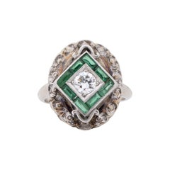 Art Deco Vintage 10k White Gold Diamond Emerald Antique Small Shield Ring