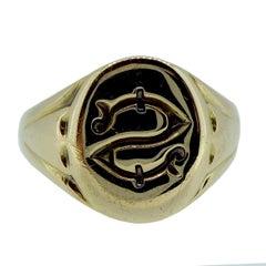 Art Deco Vintage 18 Carat Gold Signet Ring, Geroge V, Chester Assay Office, 1927