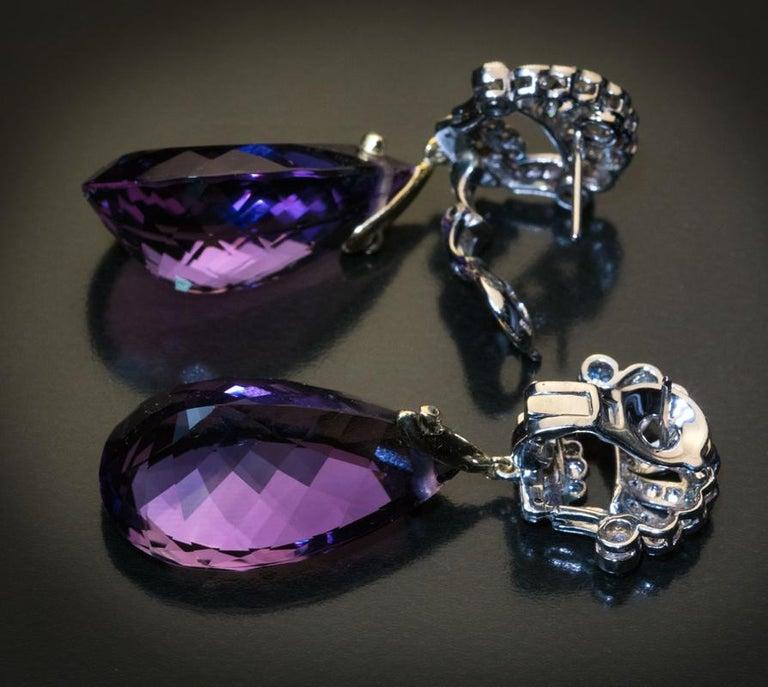 Pear Cut Art Deco Vintage Amethyst Diamond Platinum Gold Dangle Earrings