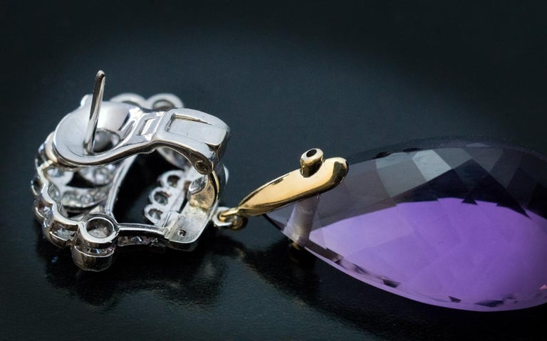 Art Deco Vintage Amethyst Diamond Platinum Gold Dangle Earrings In Excellent Condition In Chicago, IL