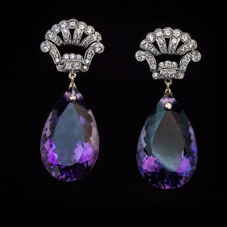 Women's Art Deco Vintage Amethyst Diamond Platinum Gold Dangle Earrings