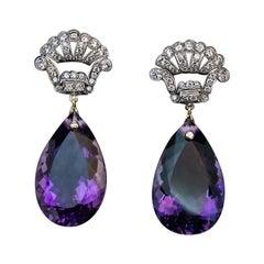 Art Deco Vintage Amethyst Diamond Platinum Gold Dangle Earrings
