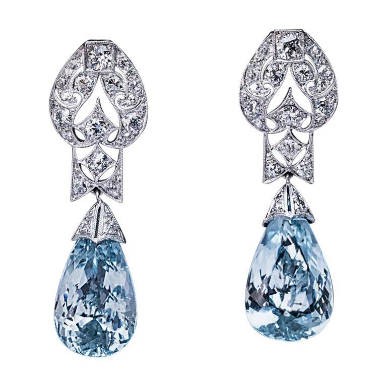 Art Deco Vintage Aquamarine Diamond Platinum Earrings, 1930s