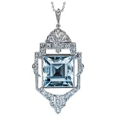 Art Deco Vintage Aquamarine Diamond White Gold Necklace, 1930s