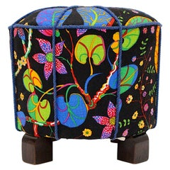 Art Deco Vintage Beech Pouf or Stool with Josef Frank Fabric, 1930s, Austria