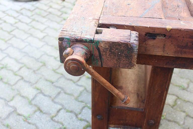 Art Deco Beech Workbench by Johann Weiss Sohn Wien Tool Factory, circa 1920s For Sale 11