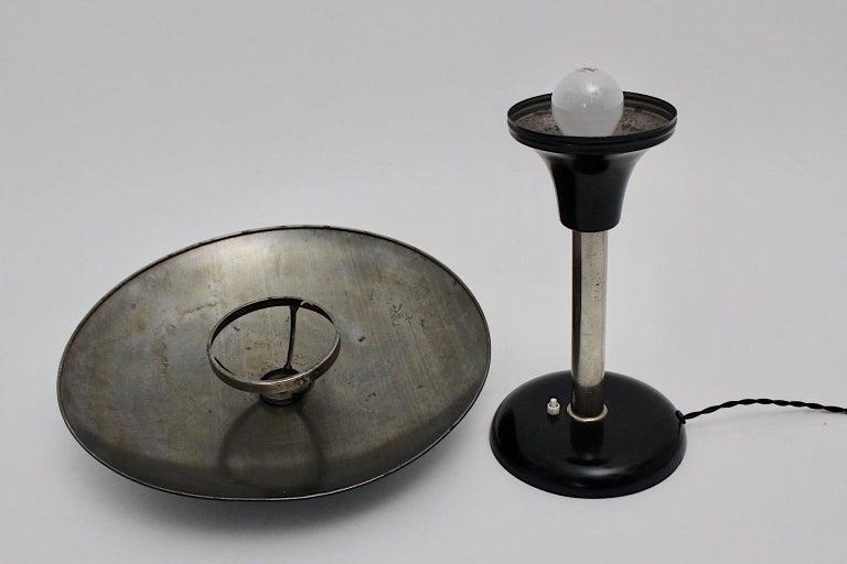 Art Deco Vintage Black Chrome Table Lamp Desk lamp Max Schumacher, 1934, Germany For Sale 8