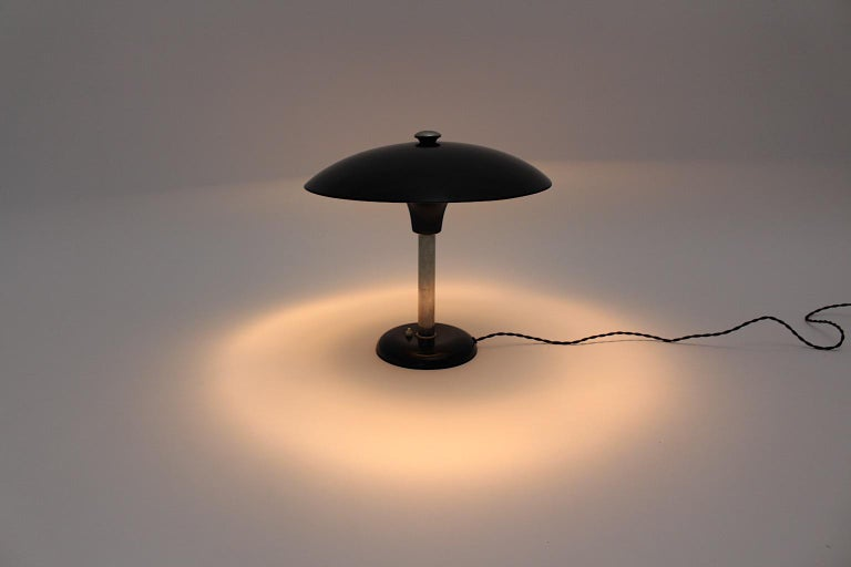 Art Deco Vintage Black Chrome Table Lamp Desk lamp Max Schumacher, 1934, Germany In Good Condition For Sale In Vienna, AT