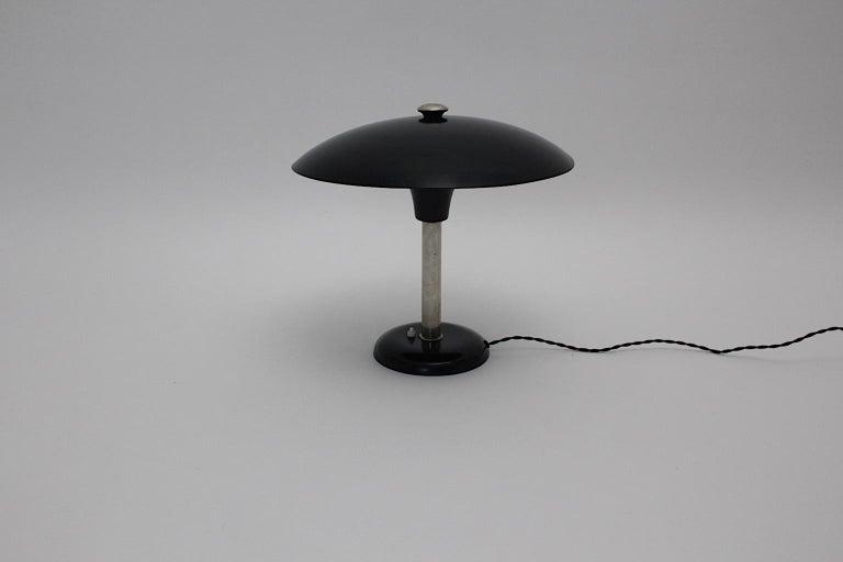 Mid-20th Century Art Deco Vintage Black Chrome Table Lamp Desk lamp Max Schumacher, 1934, Germany For Sale