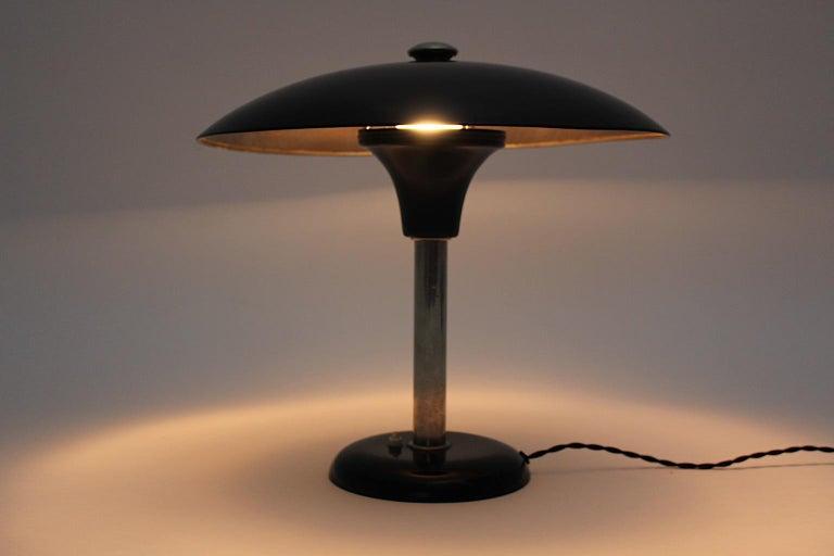 Art Deco Vintage Black Chrome Table Lamp Desk lamp Max Schumacher, 1934, Germany For Sale 1